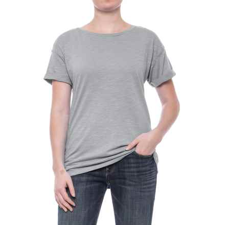 Slub Knit Cuffed Sleeve Shirt - Cotton-Modal, Short Sleeve (For Women) in Grey - 2nds