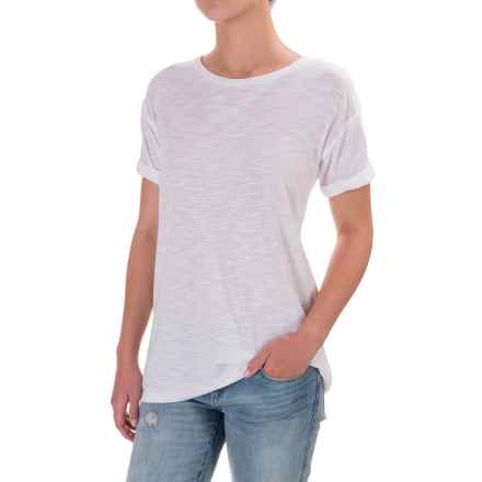 Slub Knit Cuffed Sleeve Shirt - Cotton-Modal, Short Sleeve (For Women) in White - 2nds