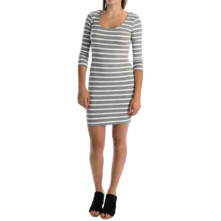 Slub-Knit Striped Dress - 3/4 Sleeve (For Women) in Grey - 2nds