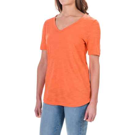 Slub Knit T-Shirt - Short Sleeve (For Women) in Coral - 2nds