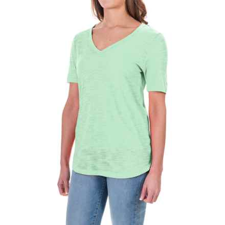 Slub Knit T-Shirt - Short Sleeve (For Women) in Green - 2nds