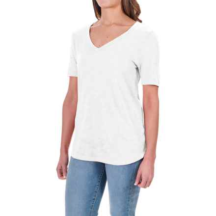 Slub Knit T-Shirt - Short Sleeve (For Women) in White - Closeouts