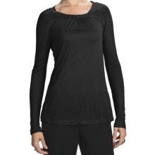 Slub Rayon Jewel Neck Shirt - Long Sleeve (For Women) in Black - Closeouts