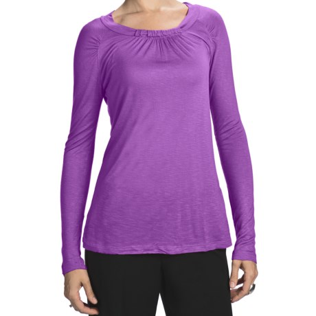 Slub Rayon Jewel Neck Shirt - Long Sleeve (For Women) in Lavender