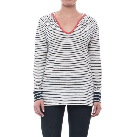 Slub Stripe Hooded Shirt - Organic Cotton, Long Sleeve (For Women)