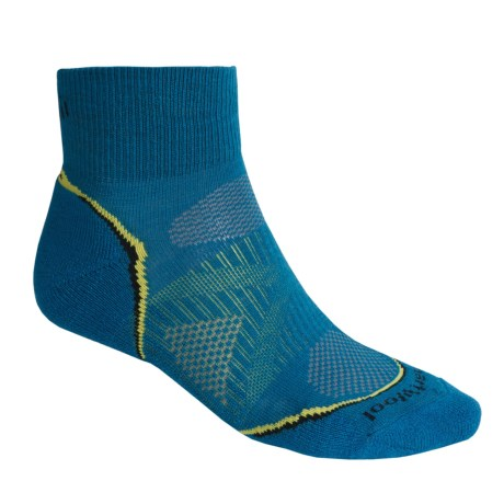 SmartWool 2013 PhD Cycle Light Socks - Merino Wool, Quarter-Crew (For Men and Women) in Arctic Blue/Smartwool Green