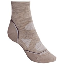 SmartWool 2013 PhD Outdoor Ultralight Mini Socks - Merino Wool, Quarter-Crew (For Women) in Oatmeal/White