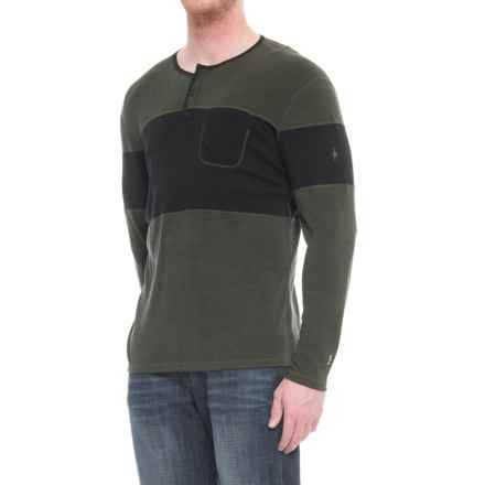 SmartWool 250 Henley Base Layer Top - Merino Wool, Long Sleeve (For Men) in Olive Heather - Closeouts