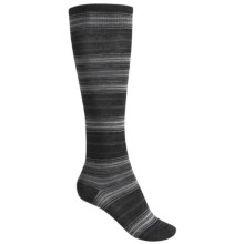 SmartWool Arabica Stripe Socks - Merino Wool, Over-the-Calf (For Women) in Charcoal Heather - 2nds