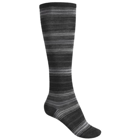 SmartWool Arabica Stripe Socks - Merino Wool, Over-the-Calf (For Women) in Charcoal Heather