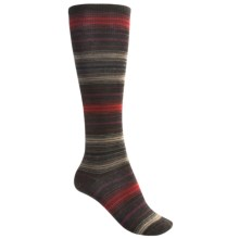 SmartWool Arabica Stripe Socks - Merino Wool, Over-the-Calf (For Women) in Chestnut Heather/Clay - 2nds