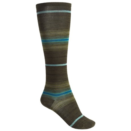 SmartWool Arabica Stripe Socks - Merino Wool, Over-the-Calf (For Women) in Loden Heather
