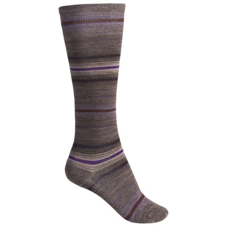 SmartWool Arabica Stripe Socks - Merino Wool, Over-the-Calf (For Women) in Chestnut Heather/Clay