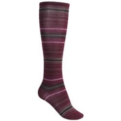 SmartWool Arabica Stripe Socks - Merino Wool, Over-the-Calf (For Women) in Wine Heather