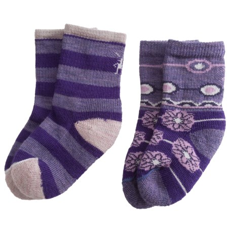 SmartWool Baby Sock Sampler - Merino Wool, 2-Pack (For Infants and Toddlers) in Grape