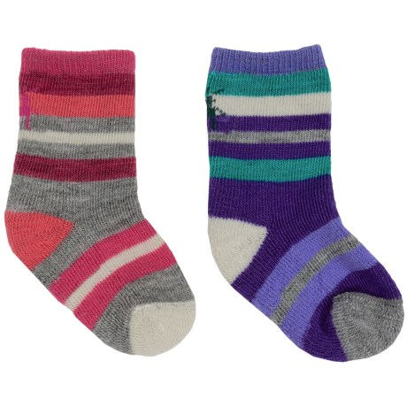 SmartWool Baby Sock Sampler - Merino Wool, 2-Pack (For Infants and Toddlers) in Punch Stripe/Liberty Stripe