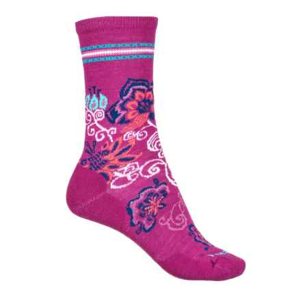 SmartWool Blooming Botanicals Socks - Merino Wool, Crew (For Women) in Berry - Closeouts