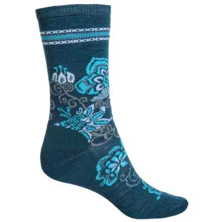 SmartWool Blooming Botanicals Socks - Merino Wool, Crew (For Women) in Deep Sea Heather - Closeouts