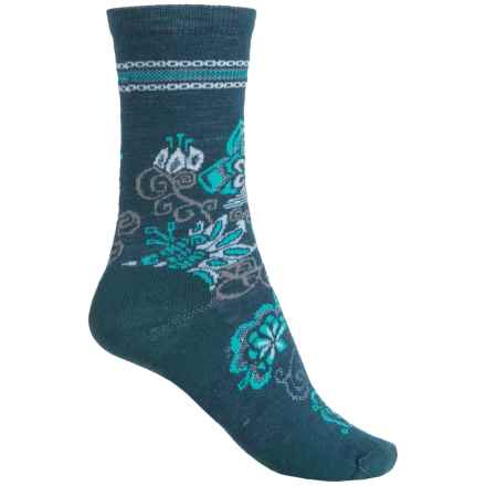 SmartWool Blooming Botanicals Socks - Merino Wool, Crew (For Women) in Deep Sea Heather - 2nds
