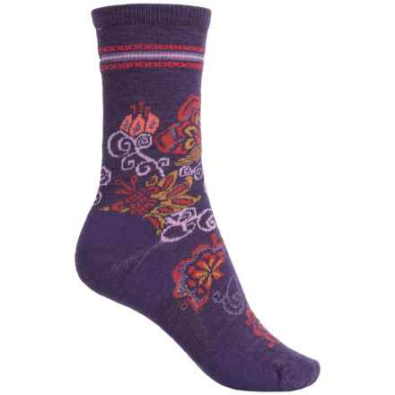SmartWool Blooming Botanicals Socks - Merino Wool, Crew (For Women) in Mountain Purple Heather - 2nds