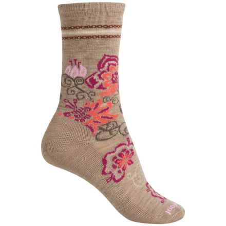 SmartWool Blooming Botanicals Socks - Merino Wool, Crew (For Women) in Oatmeal Heather - Closeouts