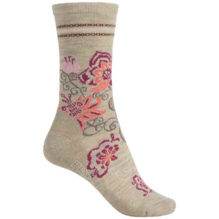 SmartWool Blooming Botanicals Socks - Merino Wool, Crew (For Women) in Oatmeal Heather - 2nds
