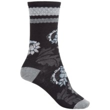 SmartWool Blossom Bitty Socks - Merino Wool, Crew (For Women) in Black - Closeouts