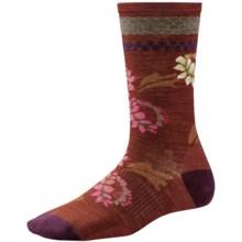 SmartWool Blossom Bitty Socks - Merino Wool, Crew (For Women) in Cinnamon Heather - Closeouts