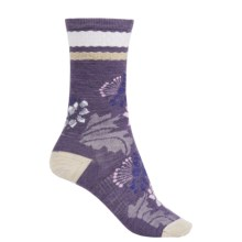 SmartWool Blossom Bitty Socks - Merino Wool, Crew (For Women) in Desert Purple Heather - Closeouts