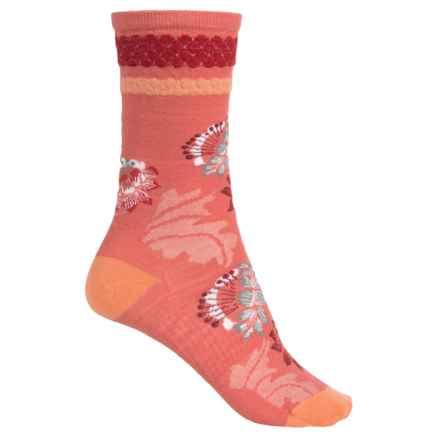 SmartWool Blossom Bitty Socks - Merino Wool, Crew (For Women) in Poppy - Closeouts