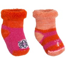 SmartWool Bootie Batch Socks - 2-Pack, Merino Wool (For Infants) in Orange W/Pink/Orange Heather W/Pink - Closeouts