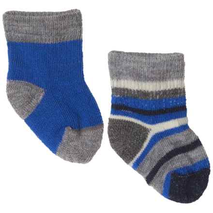 SmartWool Bootie Batch Socks - Merino Wool (For Infants) in Light Gray/Bright Blue - Closeouts