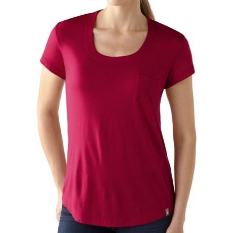 SmartWool Boyfriend Pocket T-Shirt - Merino Wool, Short Sleeve (For Women) in Persian Red