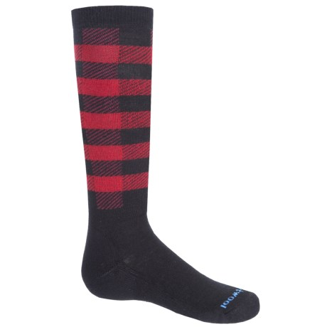 SmartWool Buff Check Midweight Ski Socks - Merino Wool, Over the Calf (For Big Kids) in Black