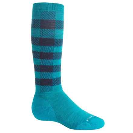 SmartWool Buff Check Midweight Ski Socks - Merino Wool, Over the Calf (For Big Kids) in Capri - Closeouts