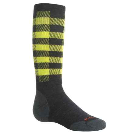 SmartWool Buff Check Midweight Ski Socks - Merino Wool, Over the Calf (For Big Kids) in Charcoal - Closeouts