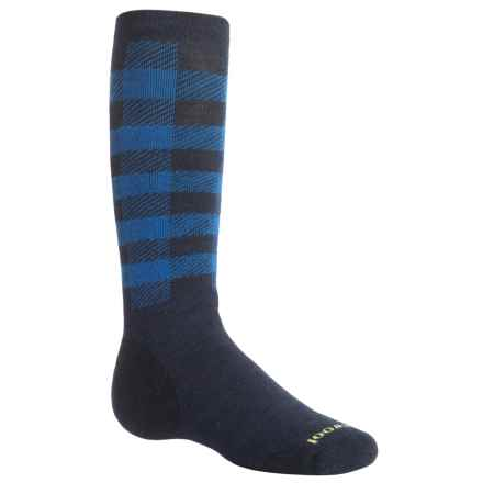 SmartWool Buff Check Midweight Ski Socks - Merino Wool, Over the Calf (For Big Kids) in Deep Navy - Closeouts