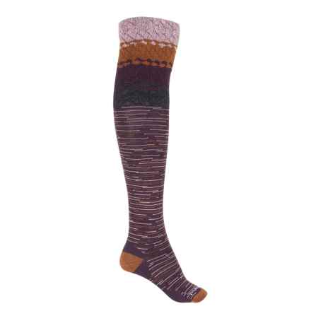 SmartWool Built Up Beehive Socks - Merino Wool, Over the Knee (For Women) in Bordeaux Heather - Closeouts