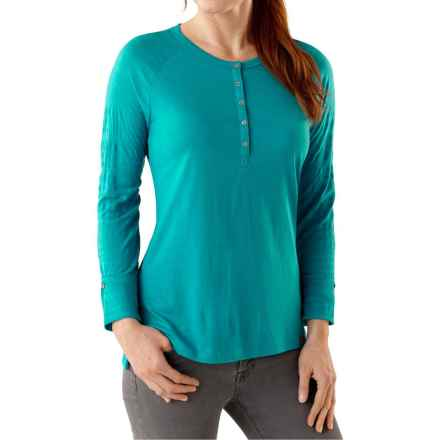 SmartWool Burnout Henley Shirt - Merino Wool, Long Sleeve (For Women) in Capri - Closeouts