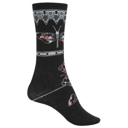SmartWool Butterfly Bitty Lightweight Socks - Merino Wool, Crew (For Women) in Black - Closeouts