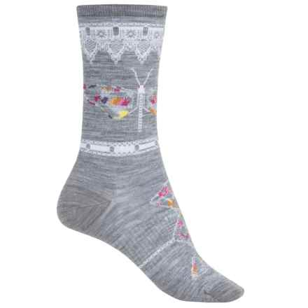 SmartWool Butterfly Bitty Lightweight Socks - Merino Wool, Crew (For Women) in Light Gray Heather - Closeouts