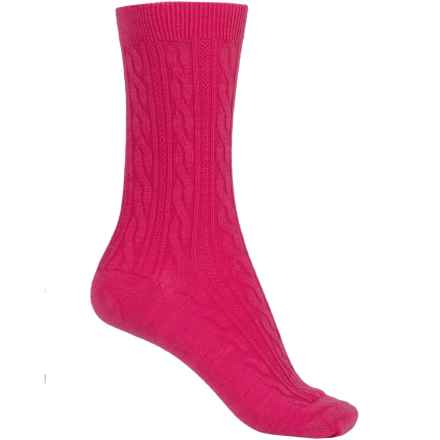 SmartWool Cable II Socks - Merino Wool, Crew (For Women) in Bright Pink - 2nds