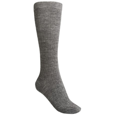SmartWool Cable-Knit Knee-High Socks - Merino Wool, Over-the-Calf (For Women) in Medium Grey