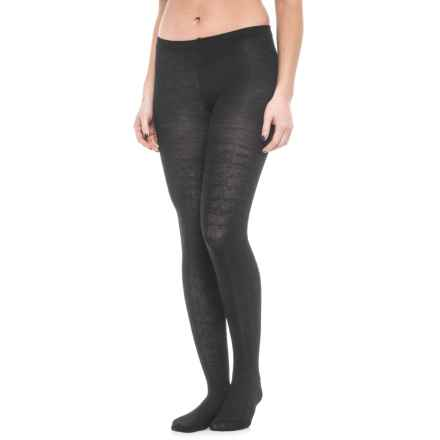 SmartWool Cable-Knit Tights - Merino Wool (For Women) in Black - Closeouts