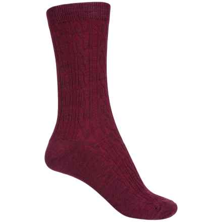 SmartWool Cable Socks - Merino Wool, Crew (For Women) in Wine - Closeouts