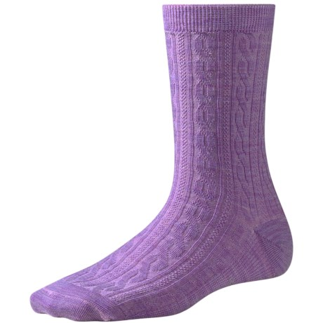 SmartWool Casual Cable-Knit Socks - Merino Wool (For Women) in Lilac Heather