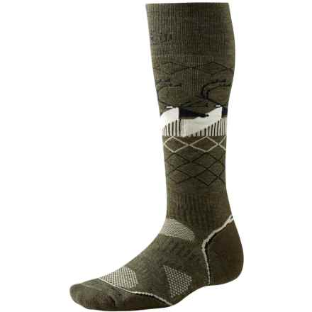SmartWool Charley Harper Bathburst Inlet Ski Socks - Merino Wool, Over the Calf (For Men and Women) in Loden Heather - Closeouts
