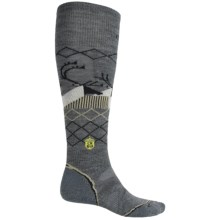 SmartWool Charley Harper Bathburst Inlet Ski Socks - Merino Wool, Over the Calf (For Men and Women) in Medium Gray Heather - Closeouts