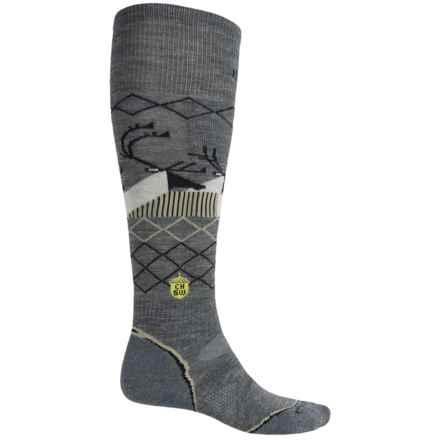 SmartWool Charley Harper Bathburst Inlet Ski Socks - Merino Wool, Over the Calf (For Men and Women) in Medium Gray Heather - Closeouts