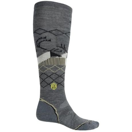 SmartWool Charley Harper Bathburst Inlet Ski Socks - Merino Wool, Over the Calf (For Men and Women) in Medium Gray Heather